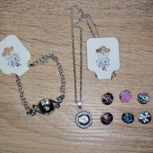 12mm Snap Jewelry Bundle Bracelet Necklace 6 Snaps
